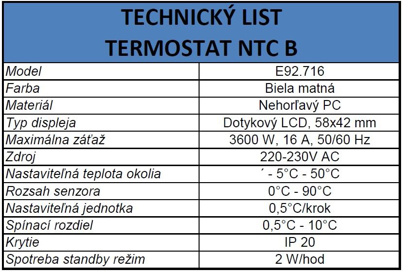 technický list termostat NTC B
